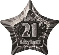 "Glitz 20"" Star Balloon Black & Silver - Age 21"